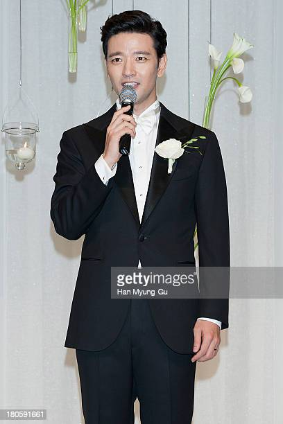 South Korean actor Bae SooBin poses for Media prior to his wedding at The Shilla Hotel on September 14 2013 in Seoul South Korea