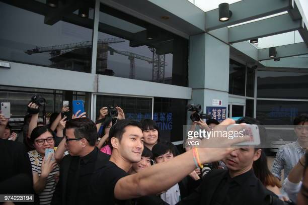 South Korean actor Choi Siwon arrives at airport on June 14 2018 in Hong Kong Hong Kong