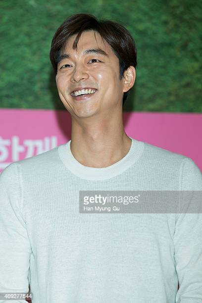 South Korean actor Gong Yoo attends the autograph session For 'The Body Shop' on April 10 2015 in Seoul South Korea