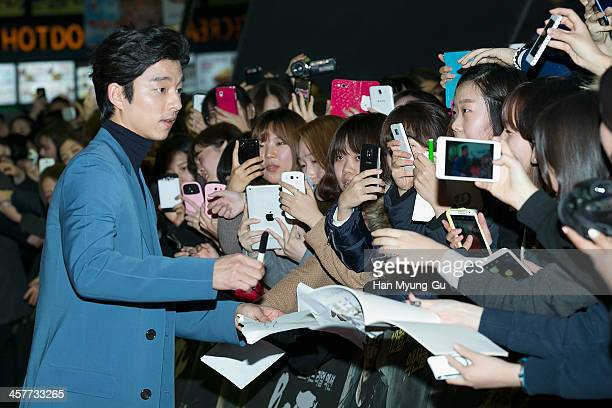 South Korean actor Gong Yoo attends 'The Suspect' VIP screening at COEX Mega Box on December 17 2013 in Seoul South Korea The film will open on...