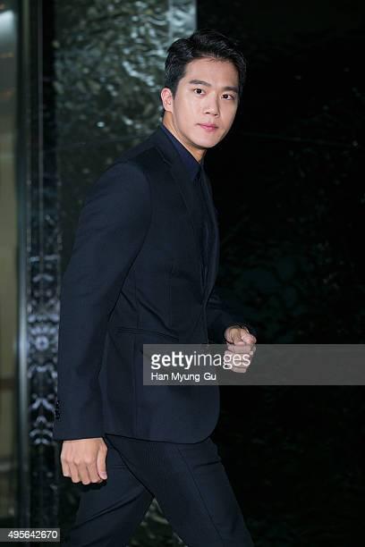 South Korean actor Ha SeokJin aka Ha SukJin attends the photocall for FENDI Seoul PEEKABOO Project Exhibition at BoonTheShop on November 4 2015 in...