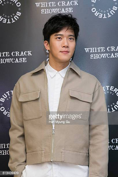South Korean actor Ha SeokJin aka Ha SukJin attends the photocall for 'BUTTERO' 2016 S/S White Crack on February 26 2016 in Seoul South Korea