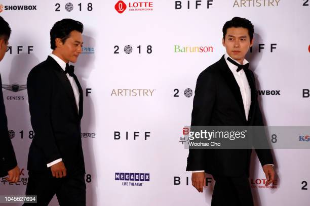 South Korean actor Hyun Bin and Jang Donggun attend Red Carpet during the Opening Ceremony of the 23nd Busan International Film Festival on October 4...