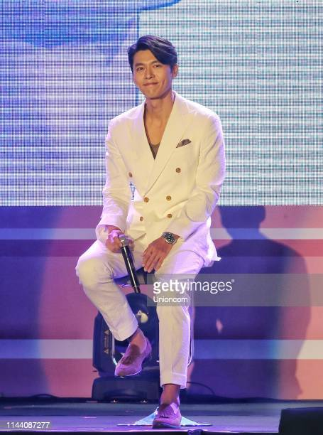 South Korean actor Hyun Bin attends a fan meeting at National Taiwan University Sports Center on April 20 2019 in Taipei Taiwan of China