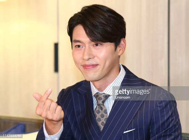 South Korean actor Hyun Bin attends a press conference on April 19, 2019 in Taipei, Taiwan of China.