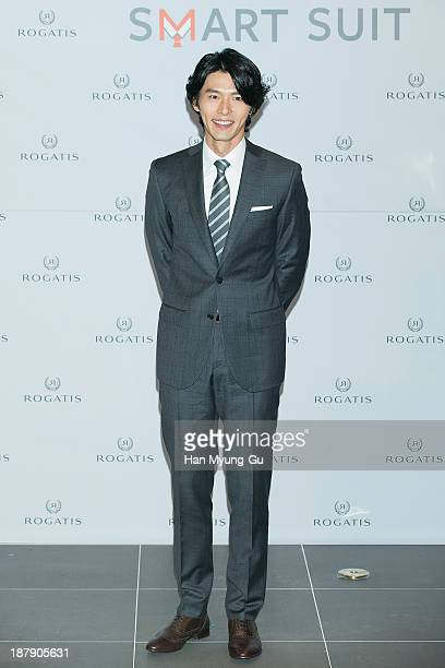 South Korean actor Hyun Bin attends a promotional event for the 'Rogatis' Smart Suit at I'Park Mall on November 13 2013 in Seoul South Korea