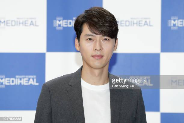 South Korean actor Hyun Bin attends a promotional event for the 'MEDIHEAL' on October 8 2018 in Seoul South Korea