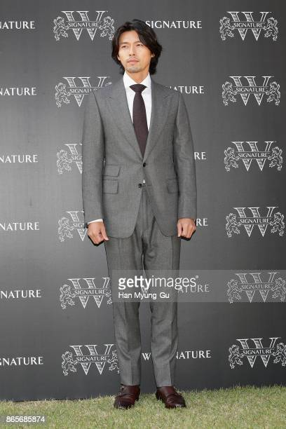 South Korean actor Hyun Bin attends Diageo Korea 'W Signature 12 by Windsor' Launch Photocall at The British Embassy in Seoul on October 24, 2017 in...