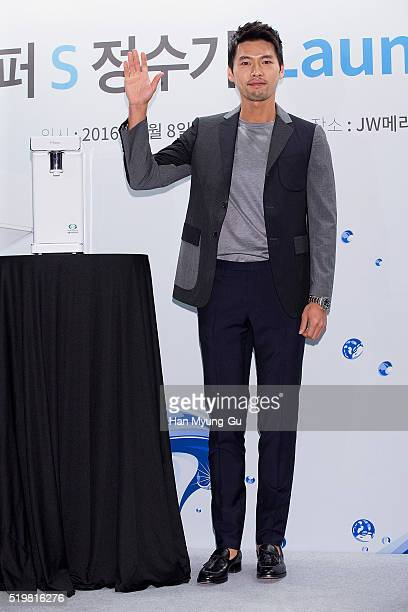 South Korean actor Hyun Bin attends the photocall for Dongyang Magic 'Super S' Water Purifier Launch Event on April 8 2016 in Seoul South Korea