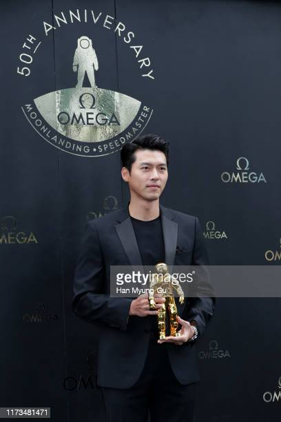 South Korean actor Hyun Bin attends the photocall for OMEGA Speedmaster Apollo 11 50th Anniversary Moon Landing on September 09 2019 in Seoul South...