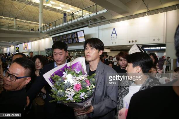 South Korean actor Hyun Bin is seen at an airport on May 10 2019 in Hong Kong China