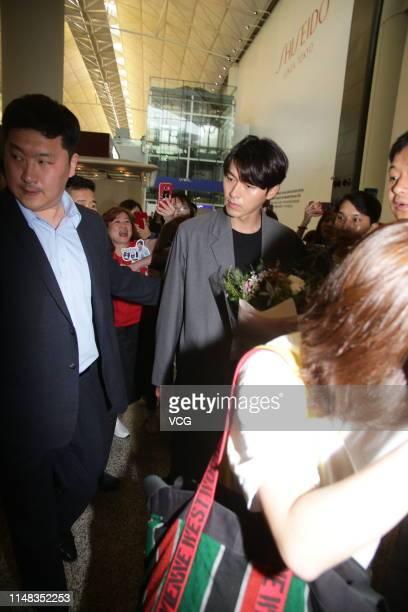South Korean actor Hyun Bin is seen at an airport on May 10 2019 in Hong Kong China