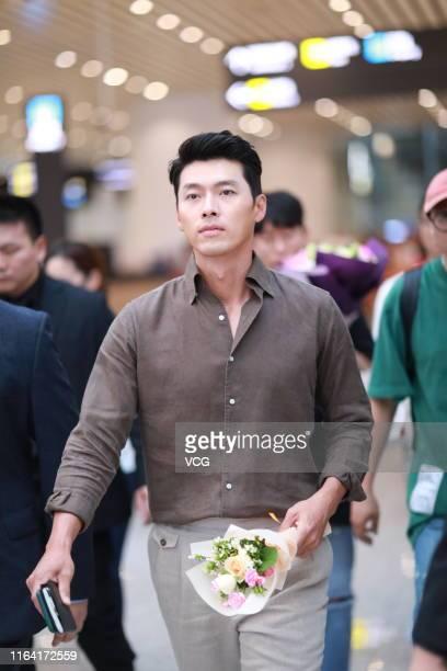 South Korean actor Hyun Bin is seen at Guangzhou Baiyun International Airport on July 25, 2019 in Guangzhou, Guangdong Province of China.