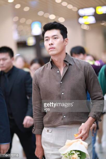 South Korean actor Hyun Bin is seen at Guangzhou Baiyun International Airport on July 25 2019 in Guangzhou Guangdong Province of China
