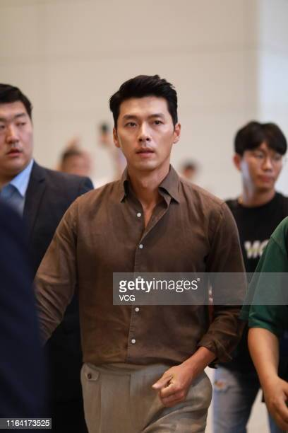 South Korean actor Hyun Bin is seen at Guangzhou Baiyun International Airport on July 25 2019 in Guangzhou Guangdong Province of China