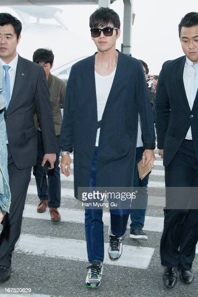 South Korean actor Hyun Bin is seen on departure at Incheon International Airport on April 25 2013 in Incheon South Korea