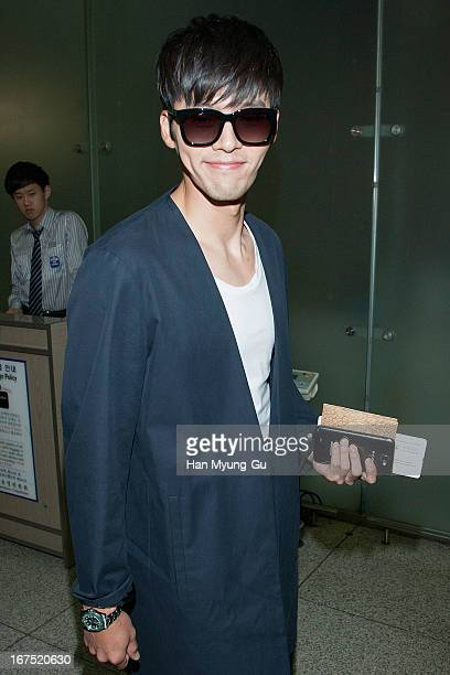 South Korean actor Hyun Bin is seen on departure at Incheon International Airport on April 25, 2013 in Incheon, South Korea.