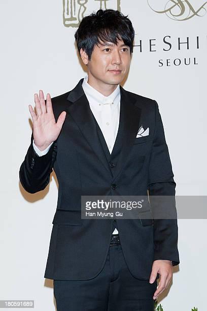South Korean actor Jo HyunJae attends the wedding of Bae SooBin at The Shilla Hotel on September 14 2013 in Seoul South Korea