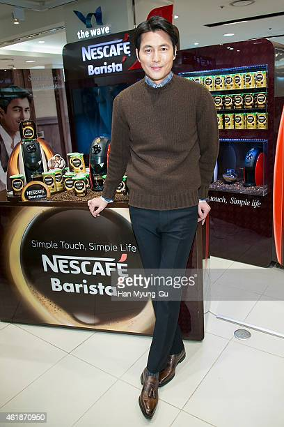 South Korean actor Jung WooSung attends the launch event for NESCAFE Barista at Lotte Department Store on January 20 2015 in Seoul South Korea