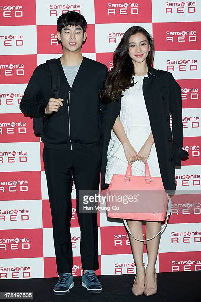 South Korean actor Kim SooHyun and Angelababy from China attend the 'Samsonite Red' 2014 S/S Collection Presentation at Platoon Kunsthalle on March...