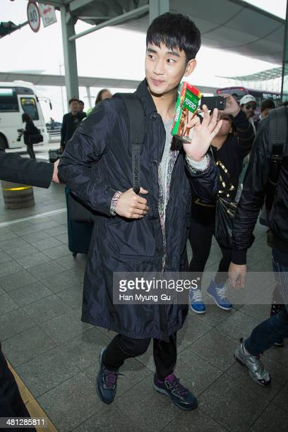 South Korean actor Kim SooHyun is seen on departure at Incheon International Airport on March 29 2014 in Incheon South Korea