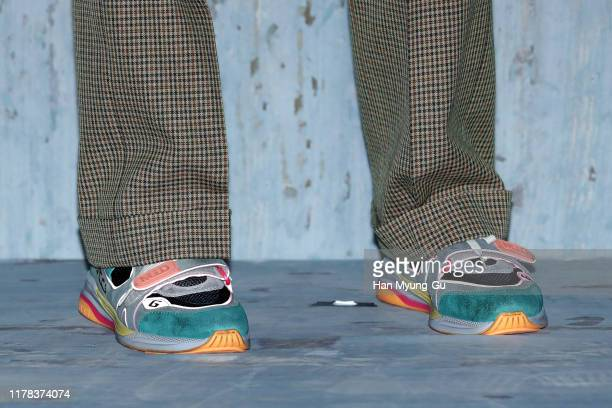 South Korean actor Kim YoungKwang shoe detail attends the Photocall for 'Gucci' Cruise 2020 Campaign Party on October 01 2019 in Seoul South Korea