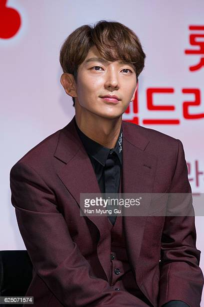 South Korean actor Lee JunKi attends the press conference for Lotte Duty Free Web Drama '7 First Kisses' on November 22 2016 in Seoul South Korea