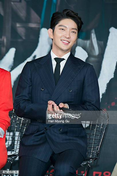 South Korean actor Lee JunKi attends the press conference for MBC Drama 'The Scholar Who Walks The Night' on July 07 2015 in Seoul South Korea The...