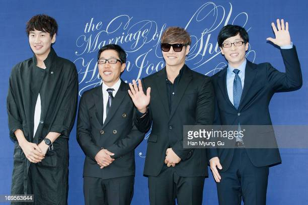South Korean actor Lee KwangSoo TV personality Kim JaeDong singer Kim JongKook and MC Yoo JaeSuk attend during the wedding of Shin HyunJun at the...