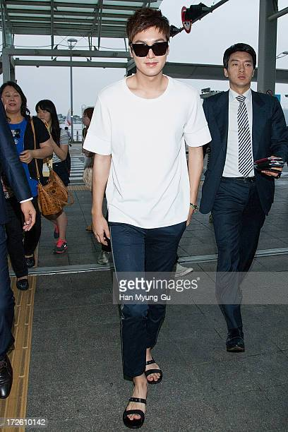 South Korean actor Lee MinHo is seen on departure at Incheon International Airport on July 4 2013 in Incheon South Korea