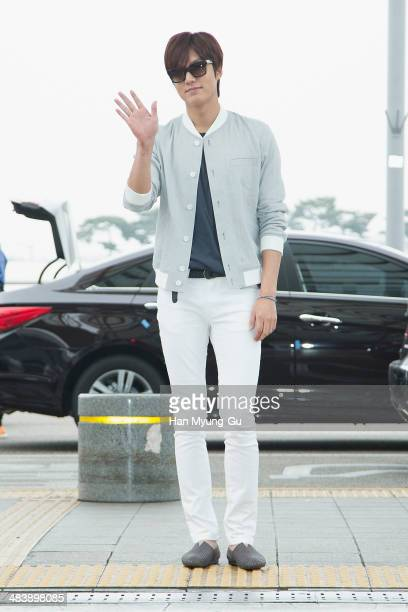 South Korean actor Lee MinHo is seen on departure at Incheon International Airport on April 10 2014 in Incheon South Korea