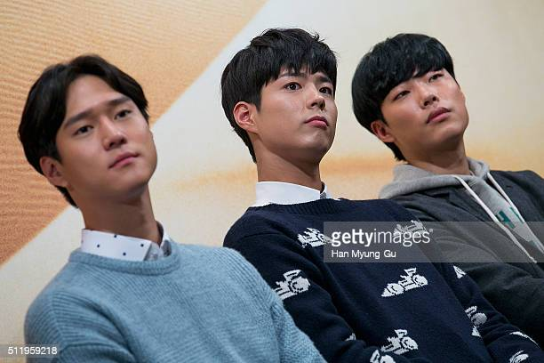 South Korean actor Park BoGum attends the tvN 'Youth Over Flowers In Africa' press conference on February 18 2016 in Seoul South Korea The program...