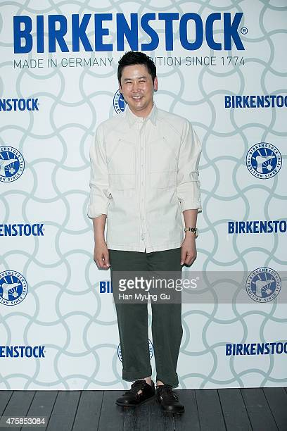 South Korean actor Shin DongYeob attends the photocall for 'Birkenstock' at LF Fashion on May 28 2015 in Seoul South Korea