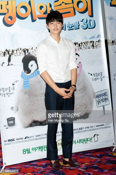 South Korean actor Song JoongKi attends a press screening to promote MBC special documentary 'Tears of The Antarctic' 3D on August 01 2012 in Seoul...