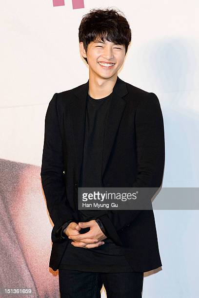 South Korean actor Song JoongKi attends during a press conference to promote the KBS drama 'The Innocent Man' at COEX Intercontinental Hotel on...