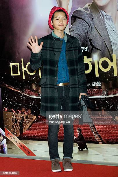 South Korean actor Song JoongKi attends the 'My Little Hero' VIP Screening at CGV on January 3 2013 in Seoul South Korea The film will open on...