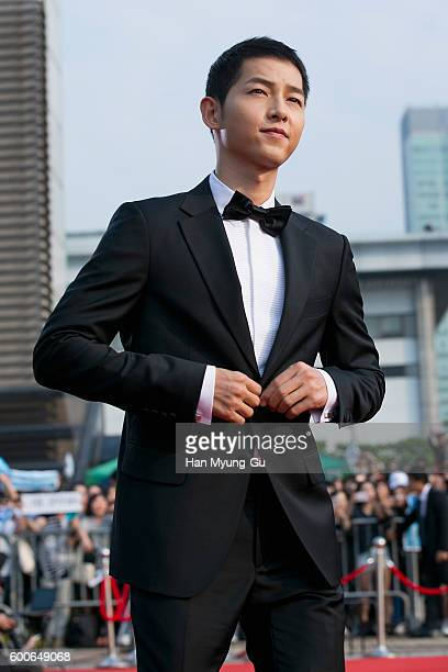 South Korean actor Song JoongKi attends the photocall for Seoul International Drama Awards 2016 at the KBS on September 8 2016 in Seoul South Korea