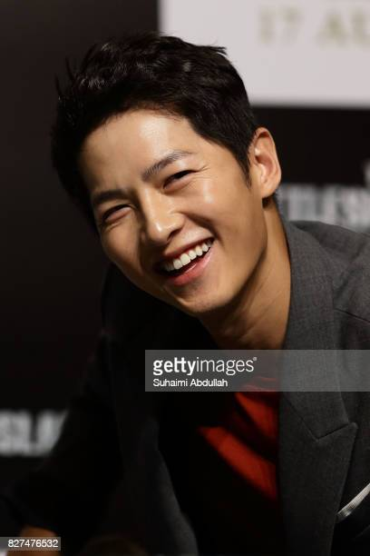 South Korean actor Song Joongki reacts during The Battleship Island Press Conference at Marina Bay Sands Convention Centre on August 8 2017 in...