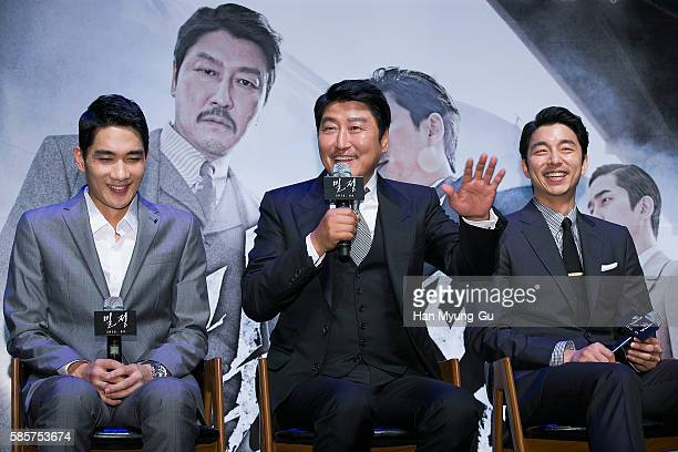 South Korean actor Song KangHo attends the press conference for The Age Of Shadows at CGV on August 4 2016 in Seoul South Korea The film will open on...