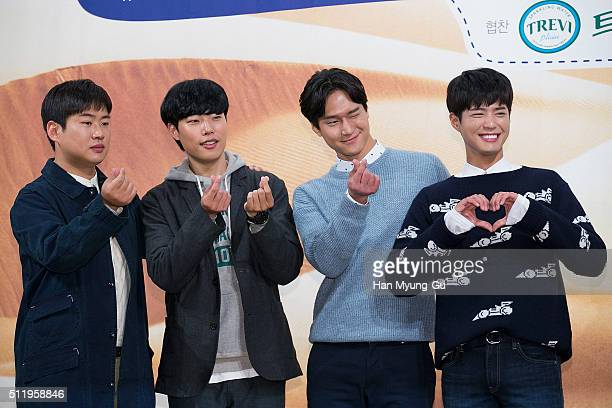 South Korean actors Ahn JaeHong Ryu JunYeol Ko KyungPyo and Park BoGum attend the tvN 'Youth Over Flowers In Africa' press conference on February 18...