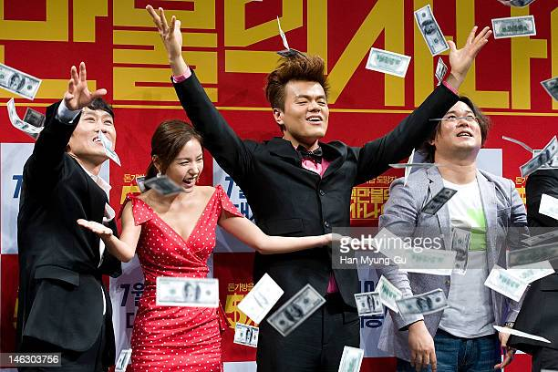 """South Korean actors Cho Hee-Bong,Min Hyo-Rin,producer Park Jin-Young of JYP and director Kim Ik-Roh attend the """"A Millionaire On The Run"""" Showcase on..."""