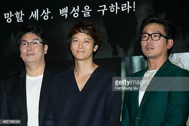 South Korean actors Cho JinWoong Gang DongWon and Ha JungWoo attend the press screening for Kundo Age Of The Rampant at COEX Mega Box on July 14 2014...