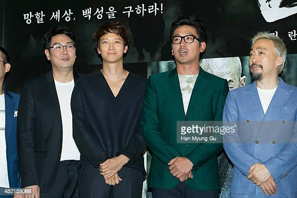 South Korean actors Cho JinWoong Gang DongWon Ha JungWoo and Lee SungMin attend the press screening for Kundo Age Of The Rampant at COEX Mega Box on...