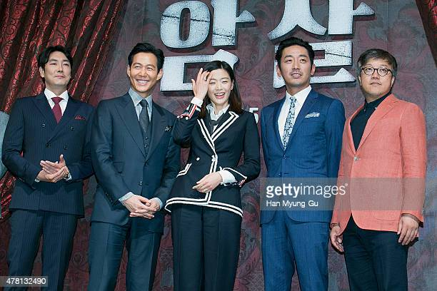 South Korean actors Cho JinWoong Lee JungJae Jeon JiHyun known as Gianna Jun Ha JungWoo and director Choi DongHoon attend the 'Assassination' press...