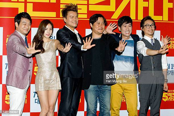 South Korean actors Cho Seong-Ha, Min Hyo-Rin, actor/producer Park Jin-Young of JYP, Cho Hee-Bong, Oh Jung-Se and director Kim Ik-Roh attend the 'A...