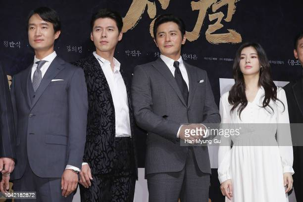 South Korean actors Cho WooJin aka Jo WooJin Hyun Bin Jang DongGun and Lee SunBin attend the 'Rampant' Press Conference on September 28 2018 in Seoul...