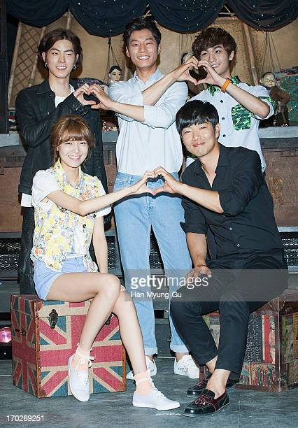 South Korean actors Cho WoonWoo Lee ChunHee Sooyoung of South Korean girl group Girls' Generation Lee JongHyuk and Hong JongHyun film on location for...