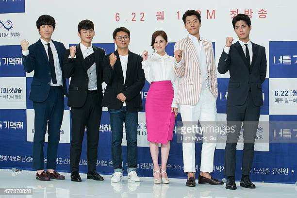 """South Korean actors Choi Won-Young, Seo In-Guk, Jang Na-Ra, Lee Cheon-Hee and Park Bo-Gum attend the KBS Drama """"Hello Monster"""" press conference on..."""