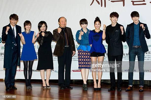 South Korean actors Daniel Choi, Jang Na-Ra, Park Hae-Mee, Yoon Joo-Sang Ryu Hyo-Young, Park Sae-Young, Lee Jong-Suk and Kim Woo-Bin attend during a...