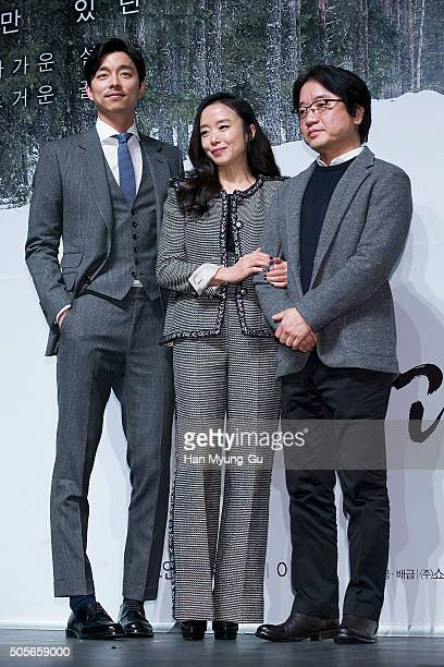 South Korean actors Gong Yoo Jeon DoYeon and director Lee YoonKi attend the press conference for 'A Man and A Woman' at CGV on January 19 2016 in...